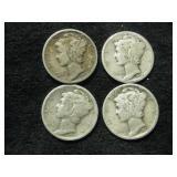Four 1936 Mercury Dimes - Philadelphia Mint