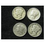 Four 1936-D Mercury Dimes -  Denver Mint