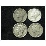 Four 1936-S Mercury Dimes - San Francisco Mint