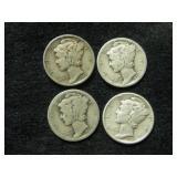 Four 1935 Mercury Dimes - Philadelphia Mint