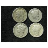 Four 1935-S Mercury Dimes - San Francisco Mint