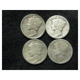 Four Assorted  Mercury Dimes As Shown