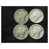 Four 1934 Mercury Dimes - Philadelphia Mint