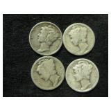 Four Assorted Mercury Dimes - Denver Mint