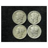 Four Assorted Date Mercury Dimes As Shown