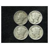 Four Assorted Date Mercury Dimes - Denver Mint