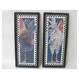 """Pair 9""""x 21.5"""" Framed Chicken Art On Board"""