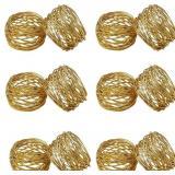 SKAVIJ Round Mesh Gold Napkin Rings Set of 12