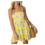 Womens Floral Mini Strapless Dress Elasticated- L