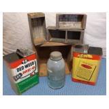 2 Tins, Lg Blue Atlas Jar, 4 wood & tin Boxes