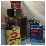 Wooden Box, 4 Tins, & Coffee Can