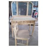 Chipping Painted Vanity & Stool, veneer top lifted