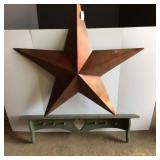 Large Metal Star, new w/tag & Wooden Shelf
