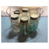 Wire Basket Blue & Clear Canning Jars