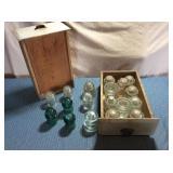2) Wooden Drawers of Glass Insulators
