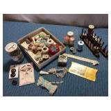 Box of Sewing: Wooden Spools, Jar of Buttons, misc