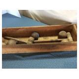 Wooden Crate & Wooden Croquet Balls & Mallets