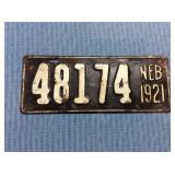 Nebraska License Plate, 1921