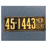 Nebraska License Plate, 1930