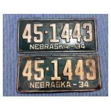 Pair of Nebraska License Plate, 1934