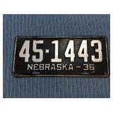 Nebraska License Plate, 1936