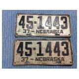 Pair Nebraska License Plates, 1937
