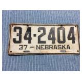 Nebraska License Plate, 1937