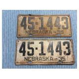 Pair Nebraska License Plate, 1935