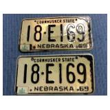 Pair of Nebraska License Plates, 1969