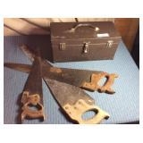 Metal Tool Box & 3 Hand Saws