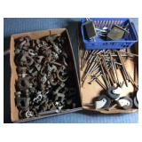 Flat of Cable Clamps, Set of Casters, Lg Nails