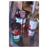 Oil Cans, Barrel w/pump on cart