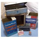Wooden Box, Tins, assorted, Blue Metal Tool Box