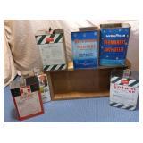 Wooden Box & 6) Tins