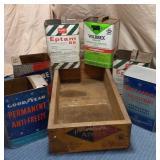 Wooden Apple Box & 6) Tins
