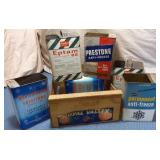 Wooden Fruit Crate & 6 Tins