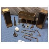 Wooden Boxes, 3 VTG Broom Hooks, Metal Hooks, misc
