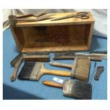 Wooden Box, Hand Sheep Shear, Assorted Brushes
