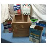 Wooden Crate & 6 Tins