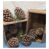 2 Wooden Boxes, Large Pinecones