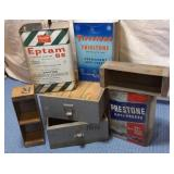 Wooden Boxes & 3) Tins