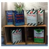 Wooden Crate & 6 Tins, w/tops half cut out