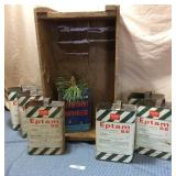 Wooden Crate w/7 Tins, half top cut out