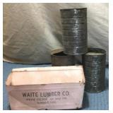 Waite Lumber Dust Pan & 3) Tin Cans w/half top