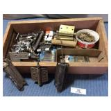 Wooden Box of Hinges & misc, assorted