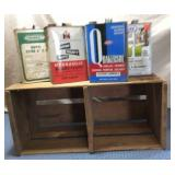Wooden Crate w/4 Tins w/tops, empty