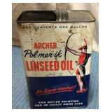 Archer Linseed Oil Tin w/ half top cut out