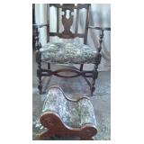 Antique Arm Chair & Footstool