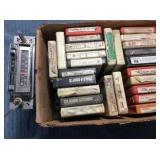 Box of 8 Track Tapes & Car Stereo