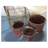 Roberts Metal Milk Crate & 3) Metal Buckets